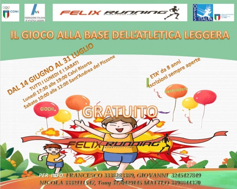 """L'Associazione Sportiva Dilettantistica Felix Running lancia il progetto """"Il gioco dell'Atletica"""": si gioca e si allena."""