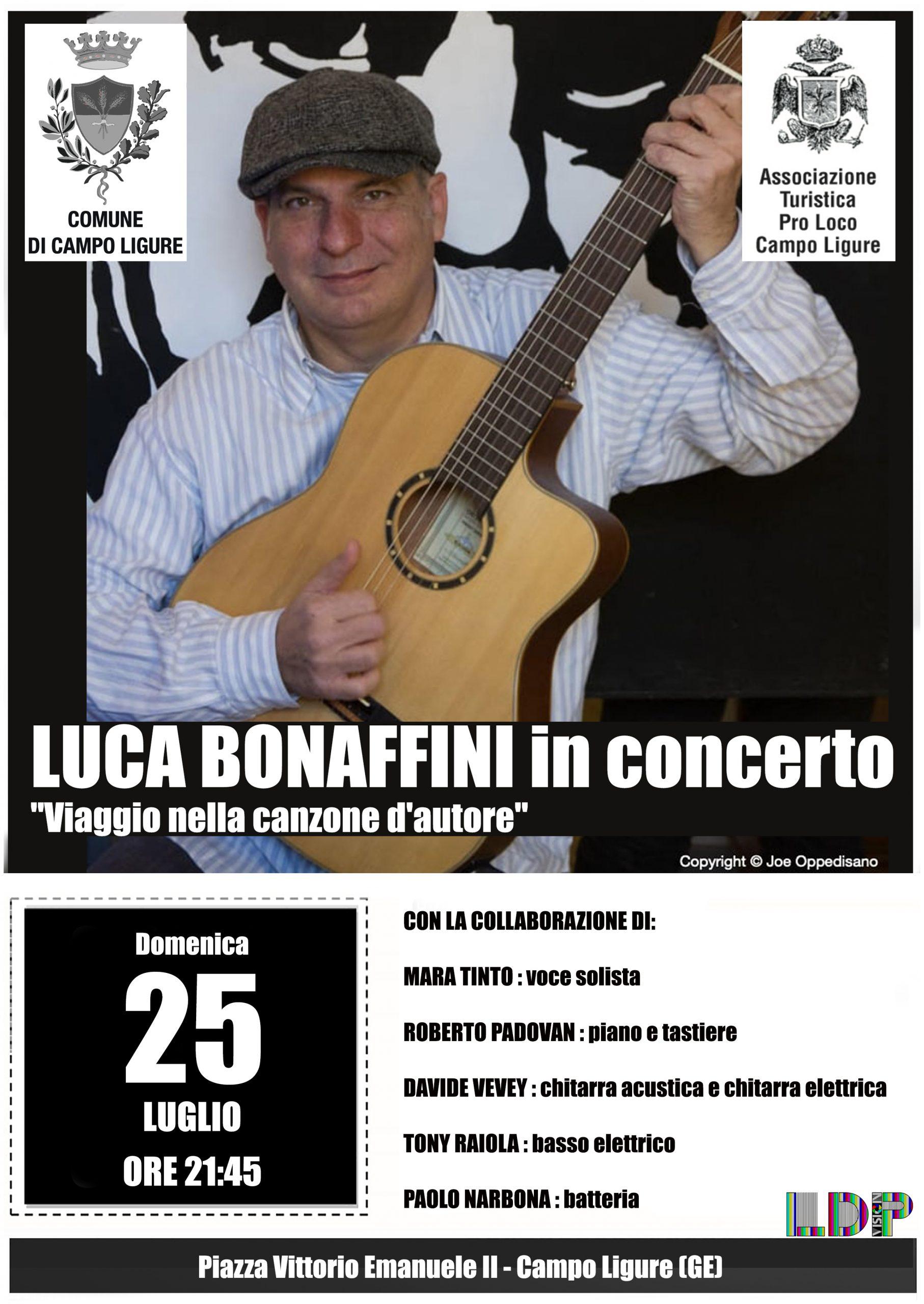 Luca Bonaffini in concerto a Campo Ligure il 25 luglio