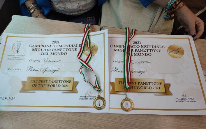 """Il maestro pasticciere Pietro Sparago due volte medaglia d'oro al Campionato mondiale """"The best panettone of the world 2021"""""""